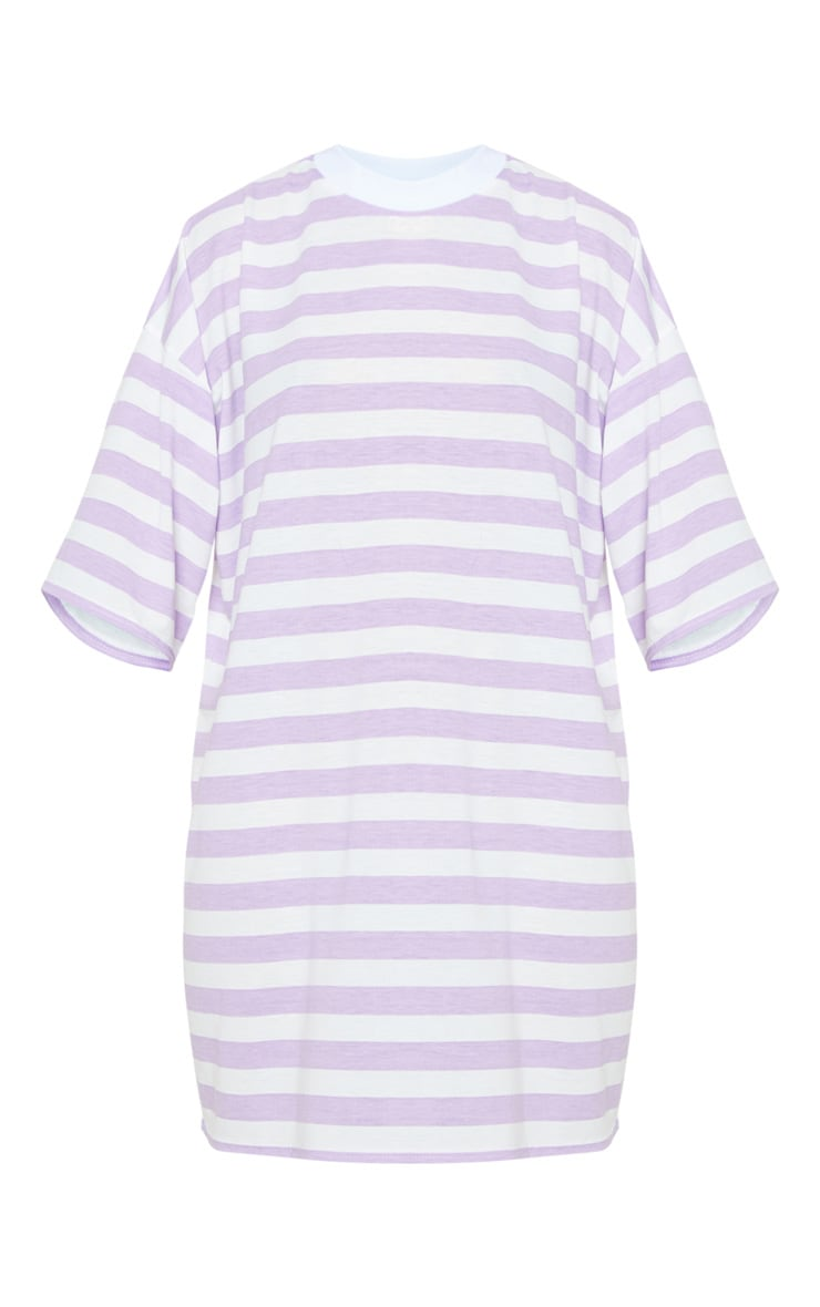 Lilac Stripe Oversized Boyfriend T Shirt Dress 3