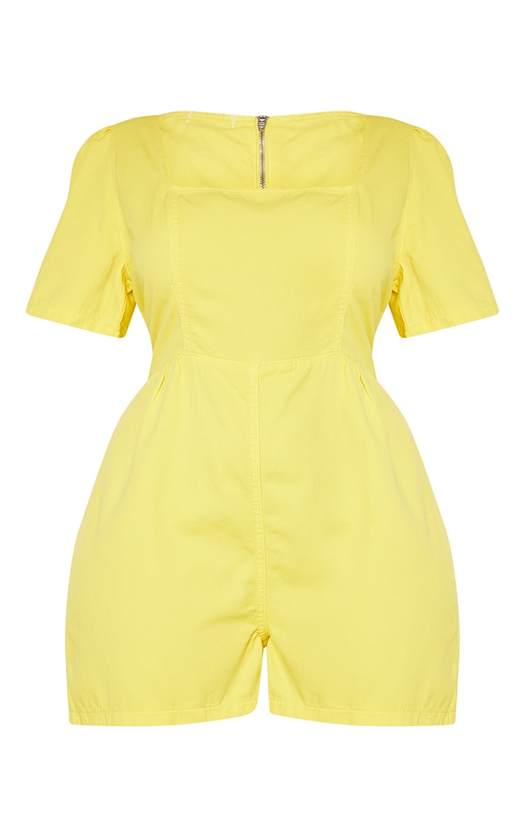 Plus Lemon Square Neck Denim Romper 5