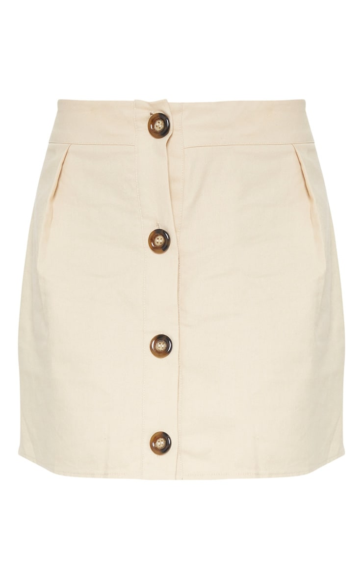 Stone Cotton Button Detail Mini Skirt 3