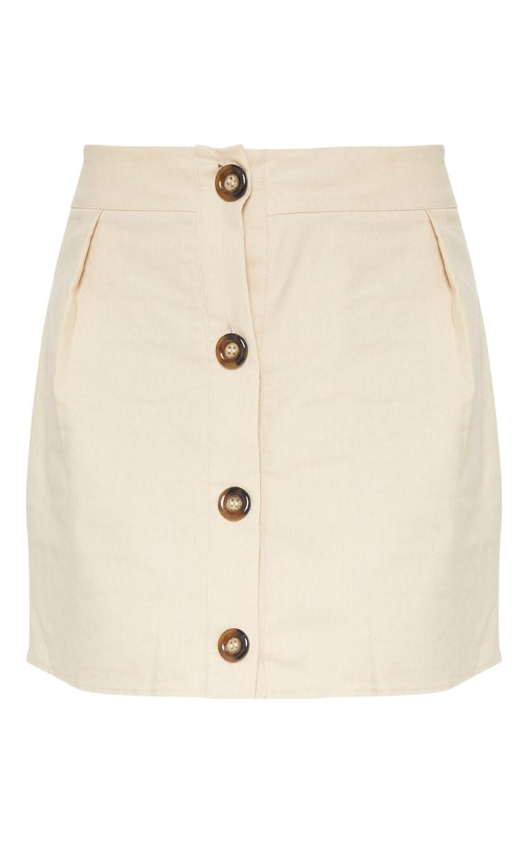 Stone Cotton Button Detail Mini Skirt 4
