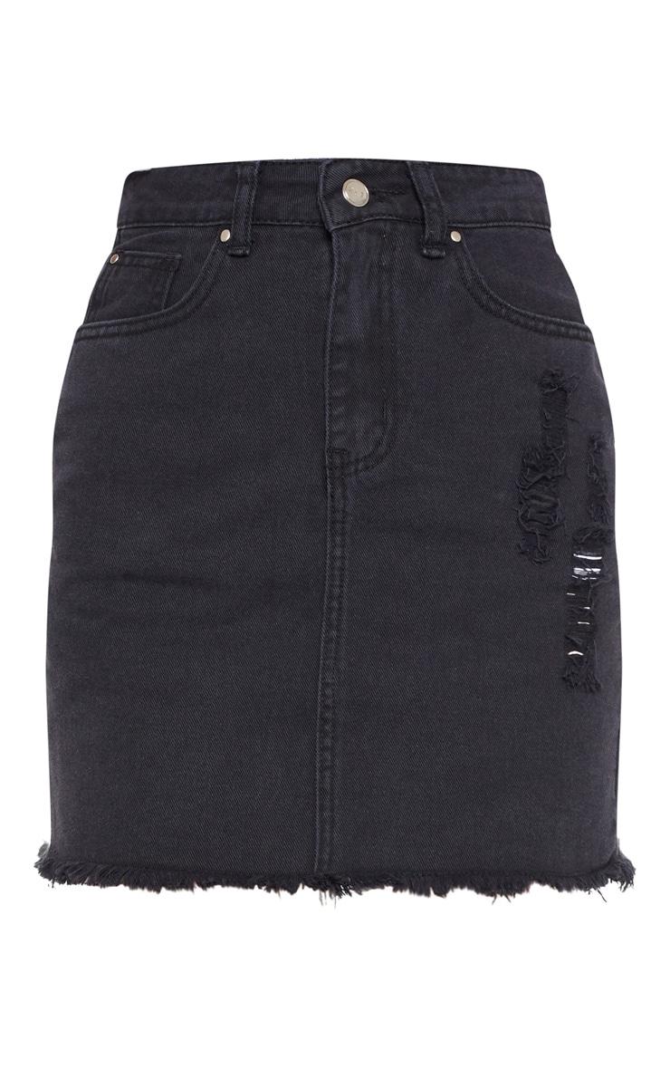 Washed Black Distressed Denim Mini Skirt 3