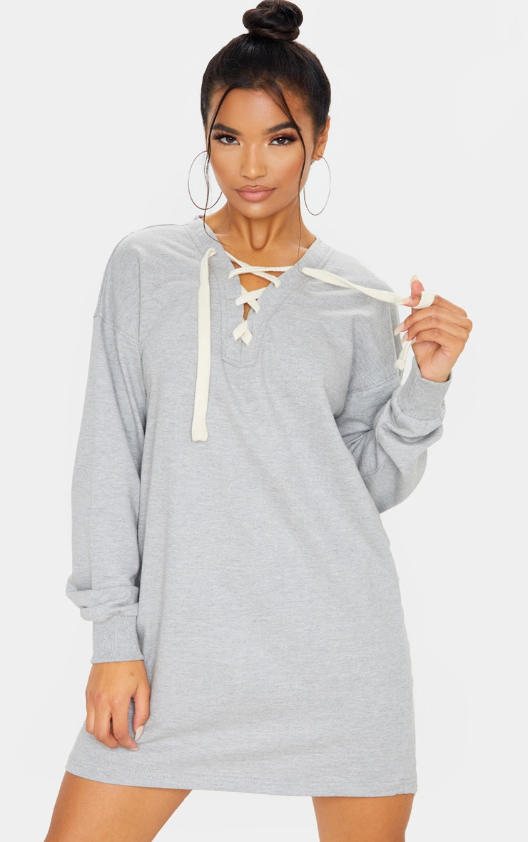 Grey Lace Up Oversized Sweat Jumper Dress  1