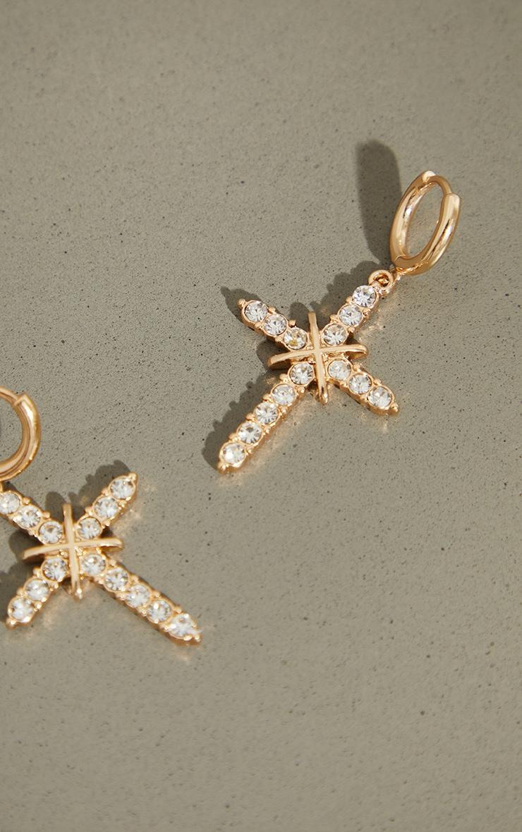 Gold Small Diamante Cross Hoop Earrings 2