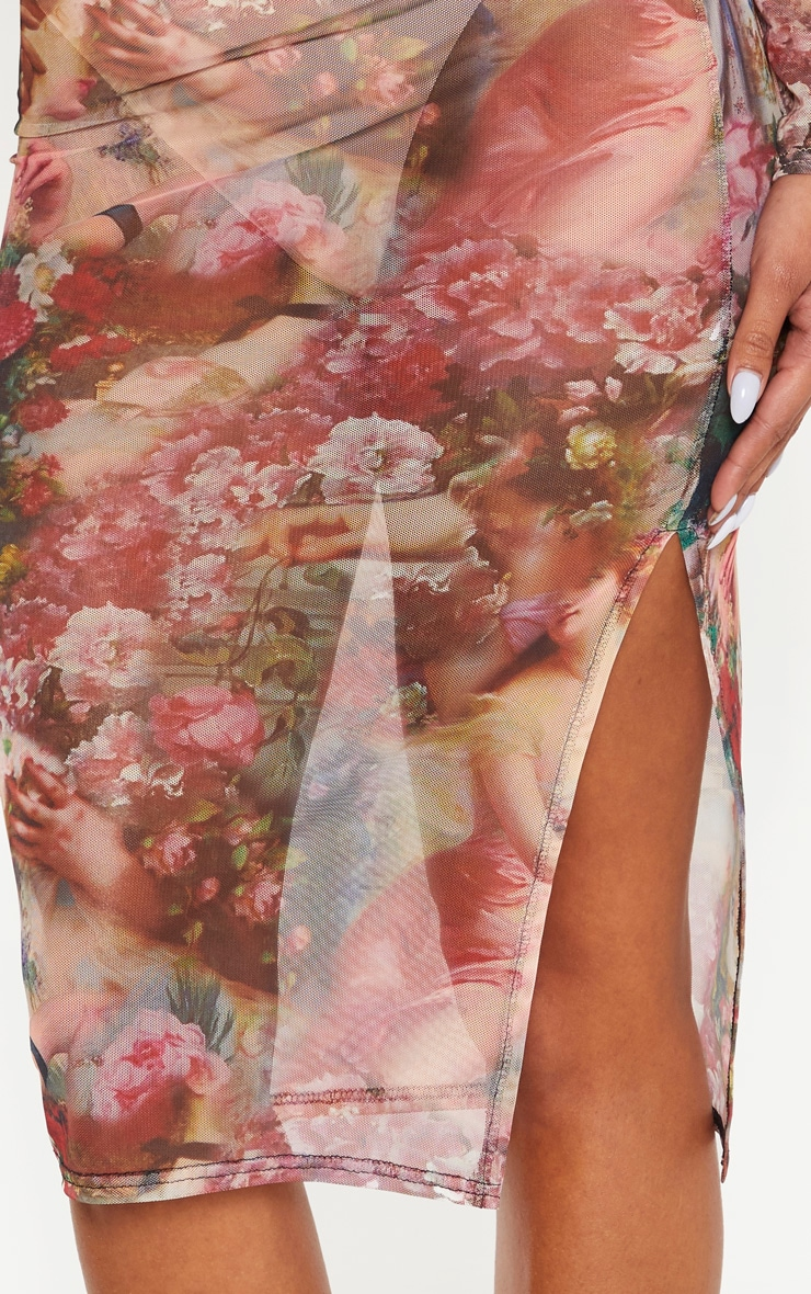 Camel Renaissance Print Mesh Midi Skirt  5