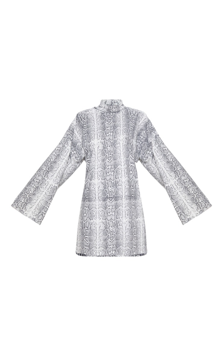 Grey Snake Print Rib Flare Sleeve Jumper Dress 5