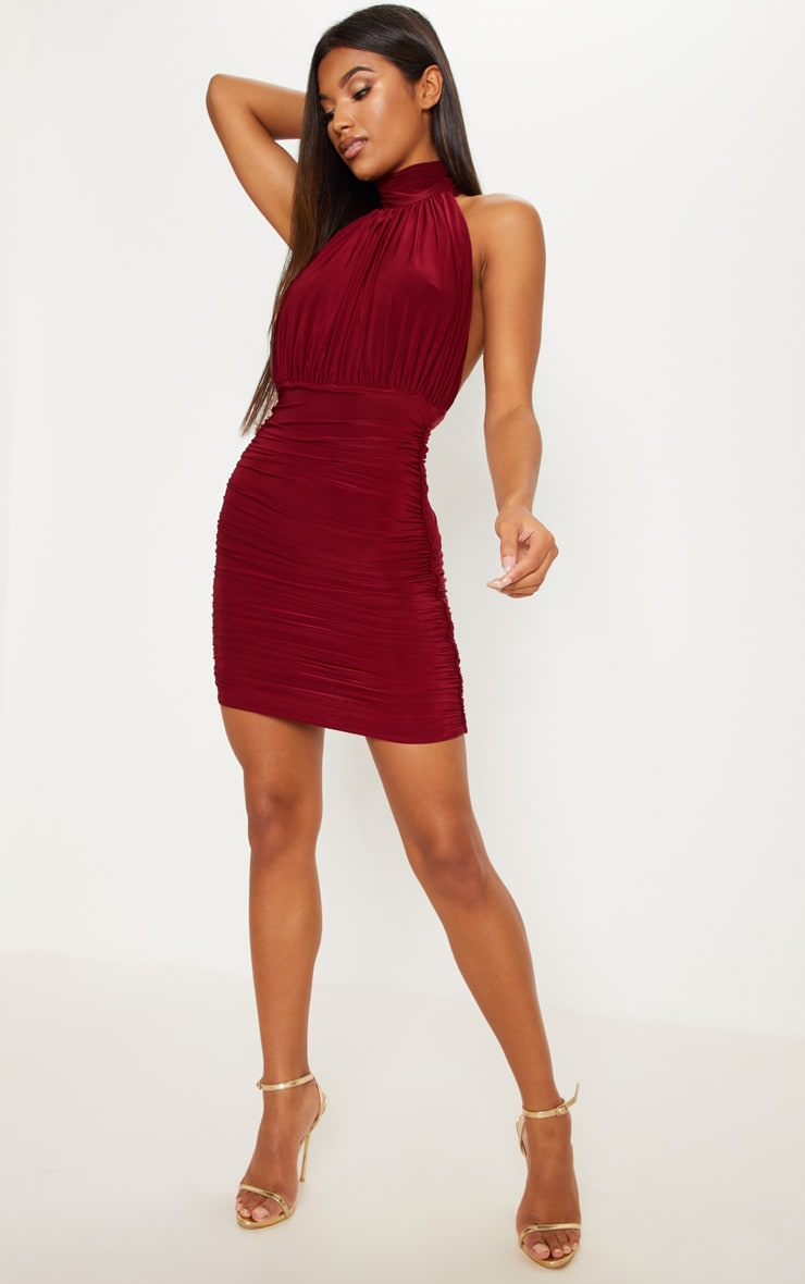 Maroon Slinky High Neck Ruched Side Dress 4