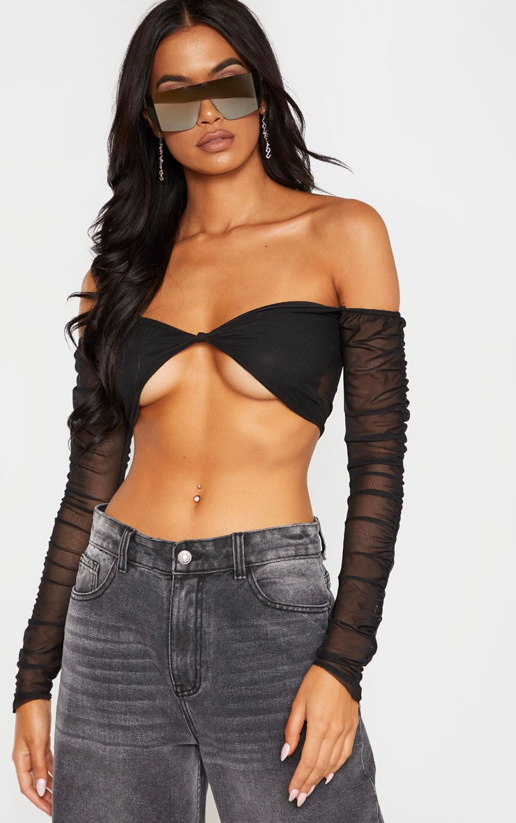 Black Mesh Ruched Sleeve Crop Top  4