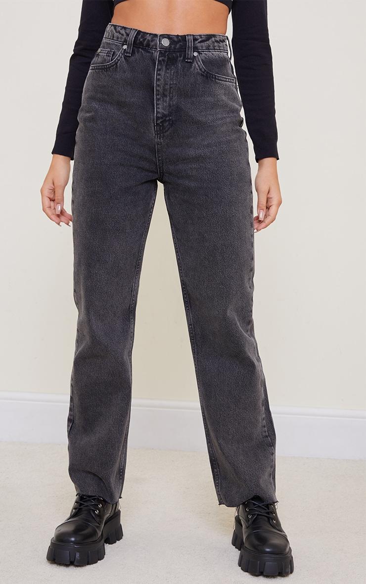 Black Acid Wash High Waisted Straight Leg Jeans 2