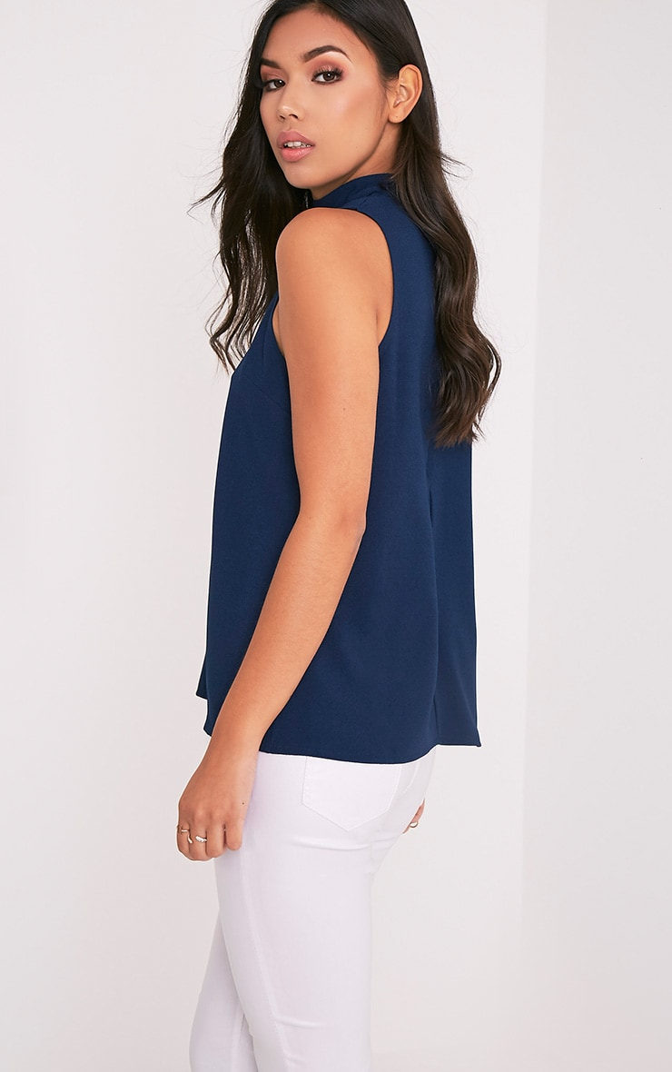 Karen Navy Cut Out Neck Shift Top 3