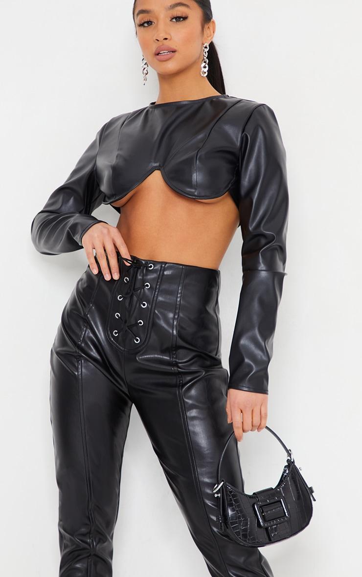 Petite Black Lace Up Detail Split Hem Faux Leather Trouser 4