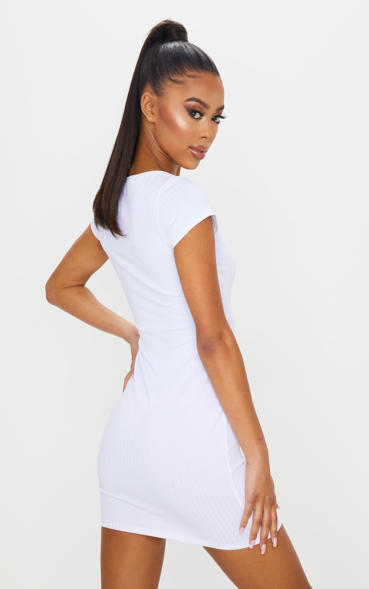 White Butterfly Embroidery Rib Square Neck Bodycon Dress 2