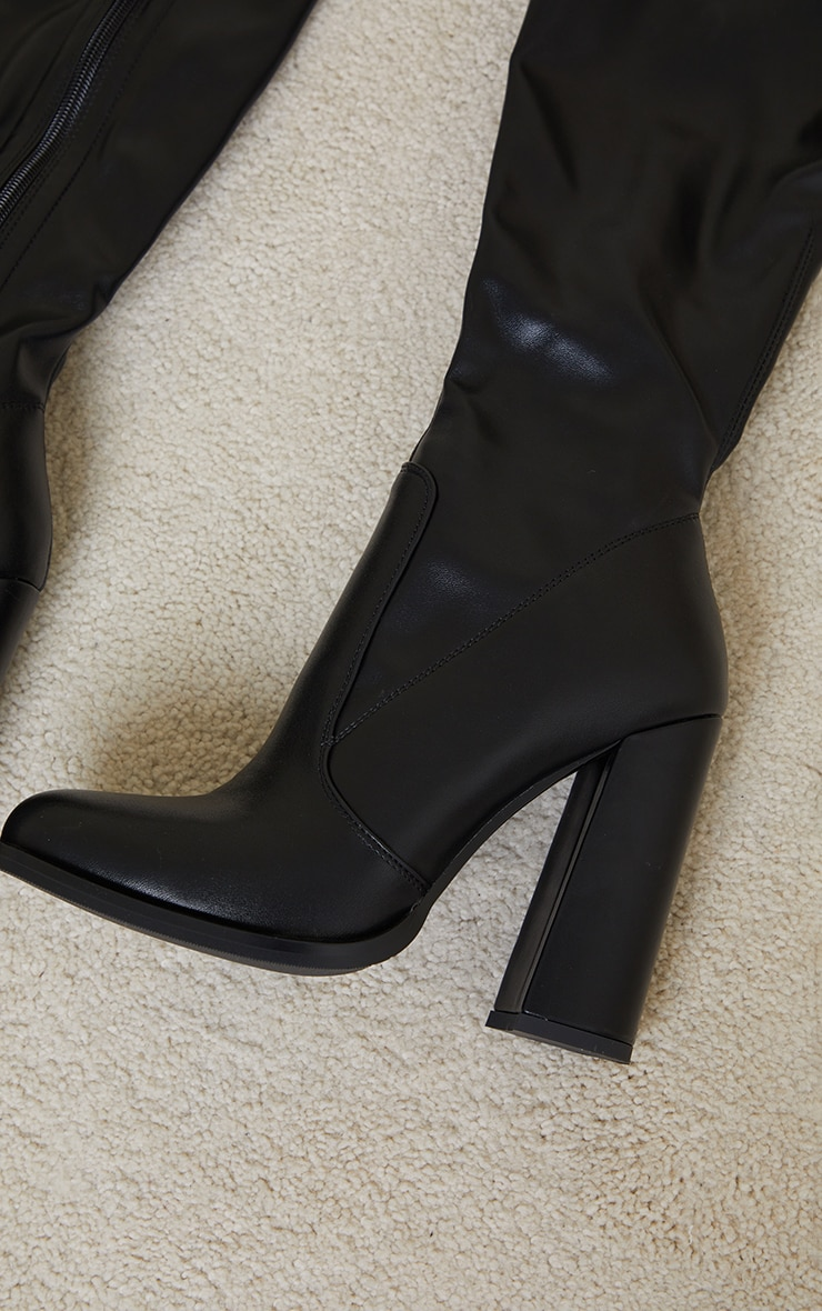 Black PU Edge High Heeled Over The Knee Boots 4