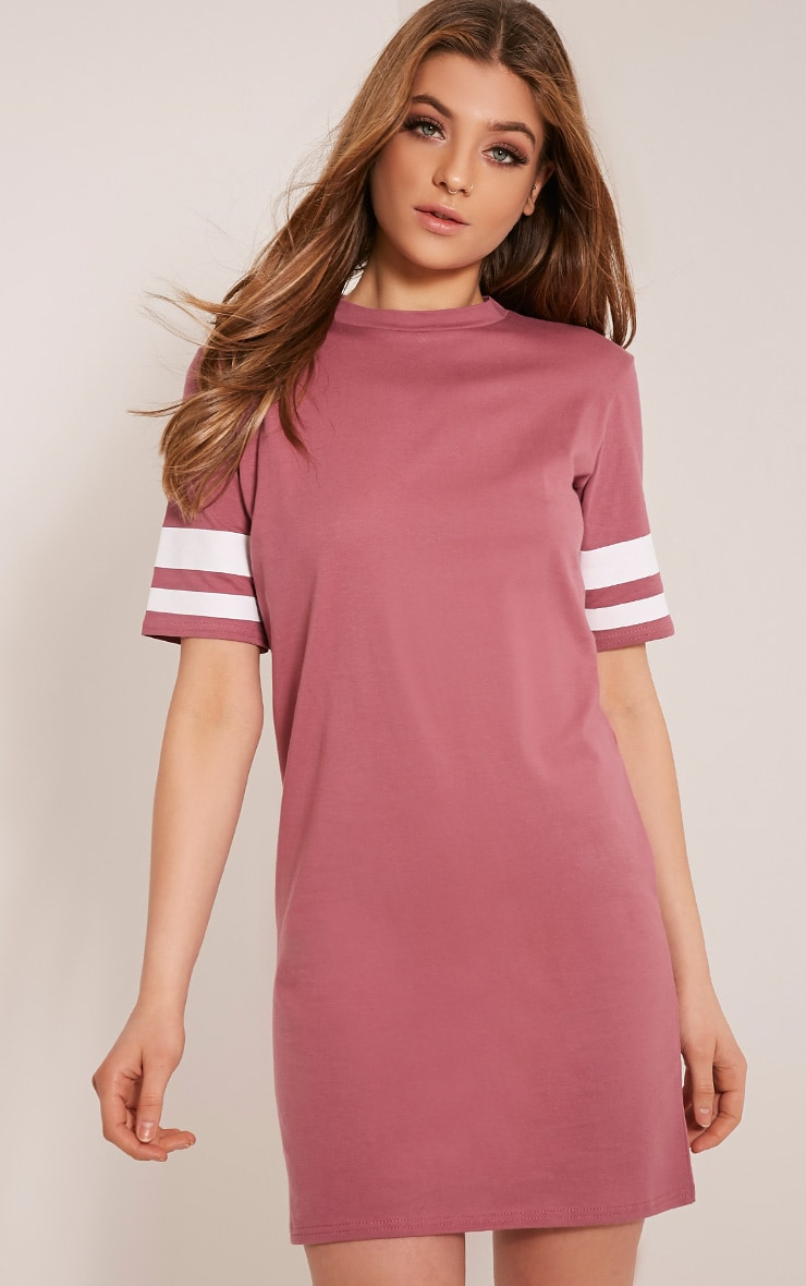 Taylia Rose Stripe Sleeve T Shirt Dress 1