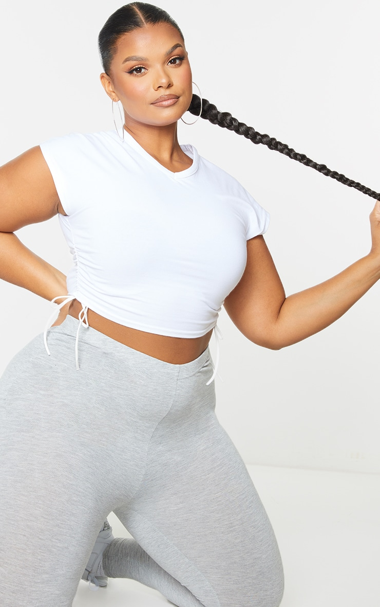Plus White V Neck Ruched Side Cropped T Shirt 3