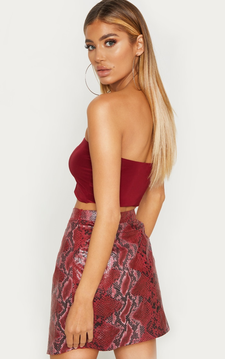 Wine Slinky Bandeau Crop Top 2