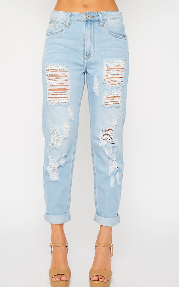Jocie Light Wash Ripped Boyfriend Jeans 2
