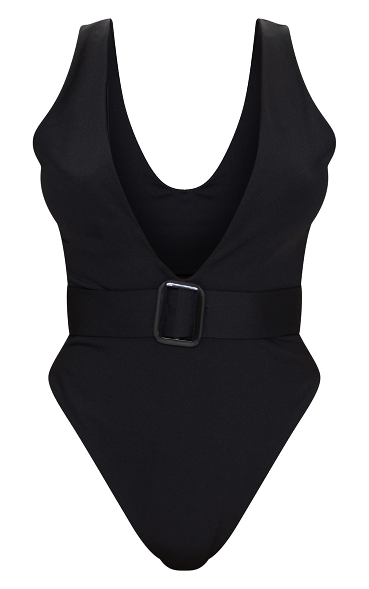 Petite Black Plunge Buckle Belt Detail Swimsuit 5