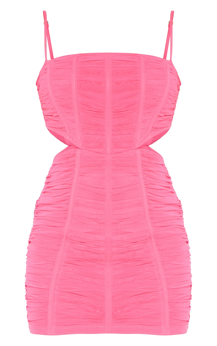 Bubblegum Pink Strappy Mesh Ruched Corset Cut Out Bodycon Dress 5