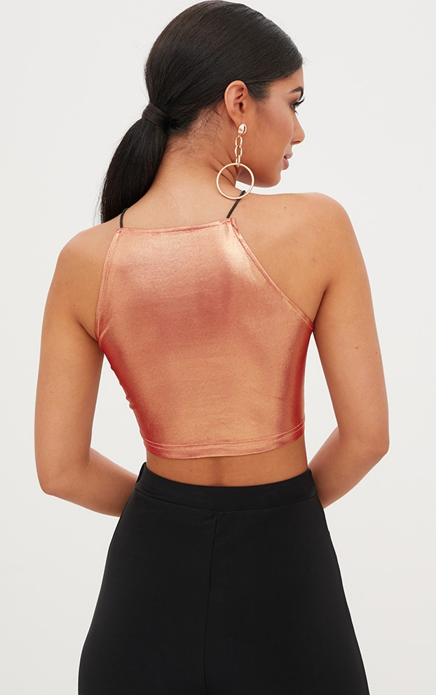 Lucianna Rose Gold Metallic Crop Top 2