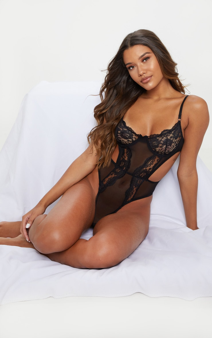 Black Lace Cup Cut Out High Leg Body 5