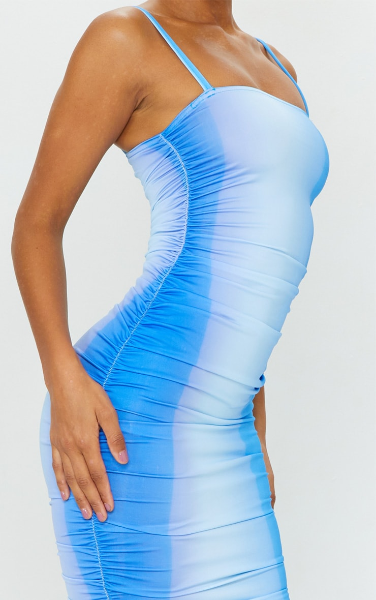 Blue Ombre Tie Dye Print Slinky Strappy Ruched Midaxi Dress 3