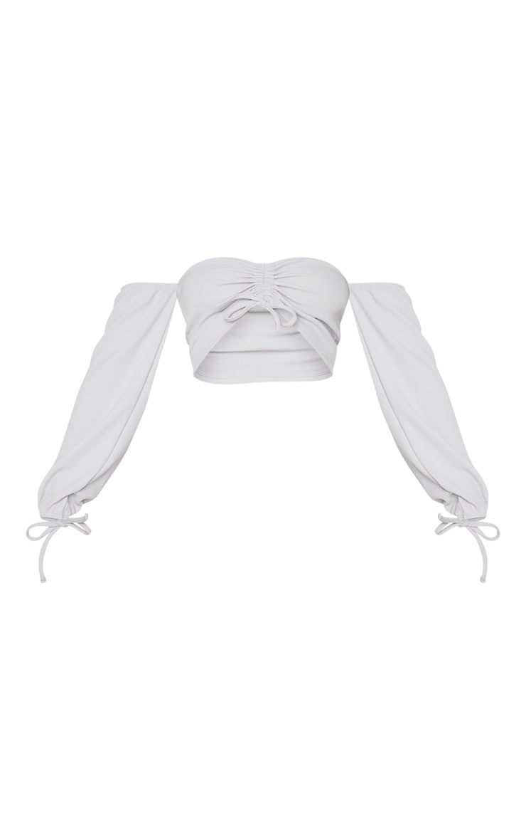 Grey Marl Ruched Detail Bardot Long Sleeve Crop Top 5
