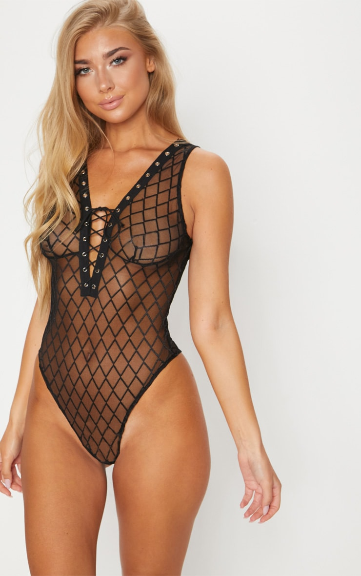 Black Criss Cross Lace Up Body 1