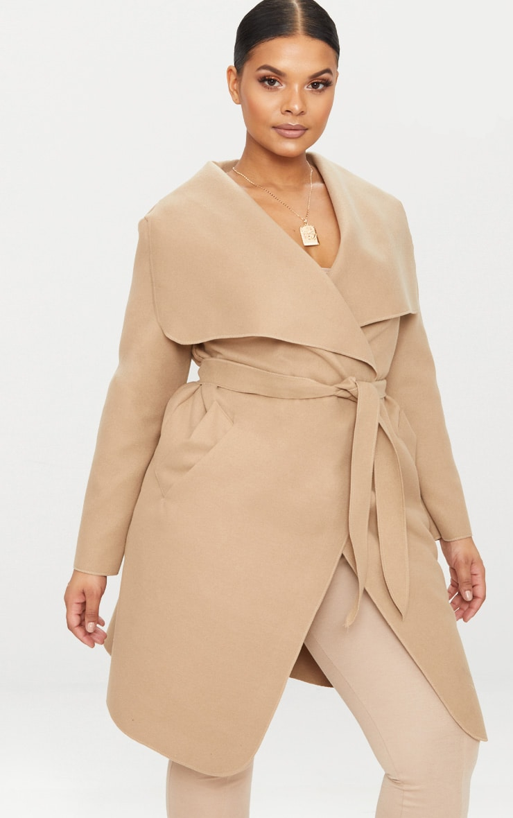 Plus Camel Waterfall Coat 4