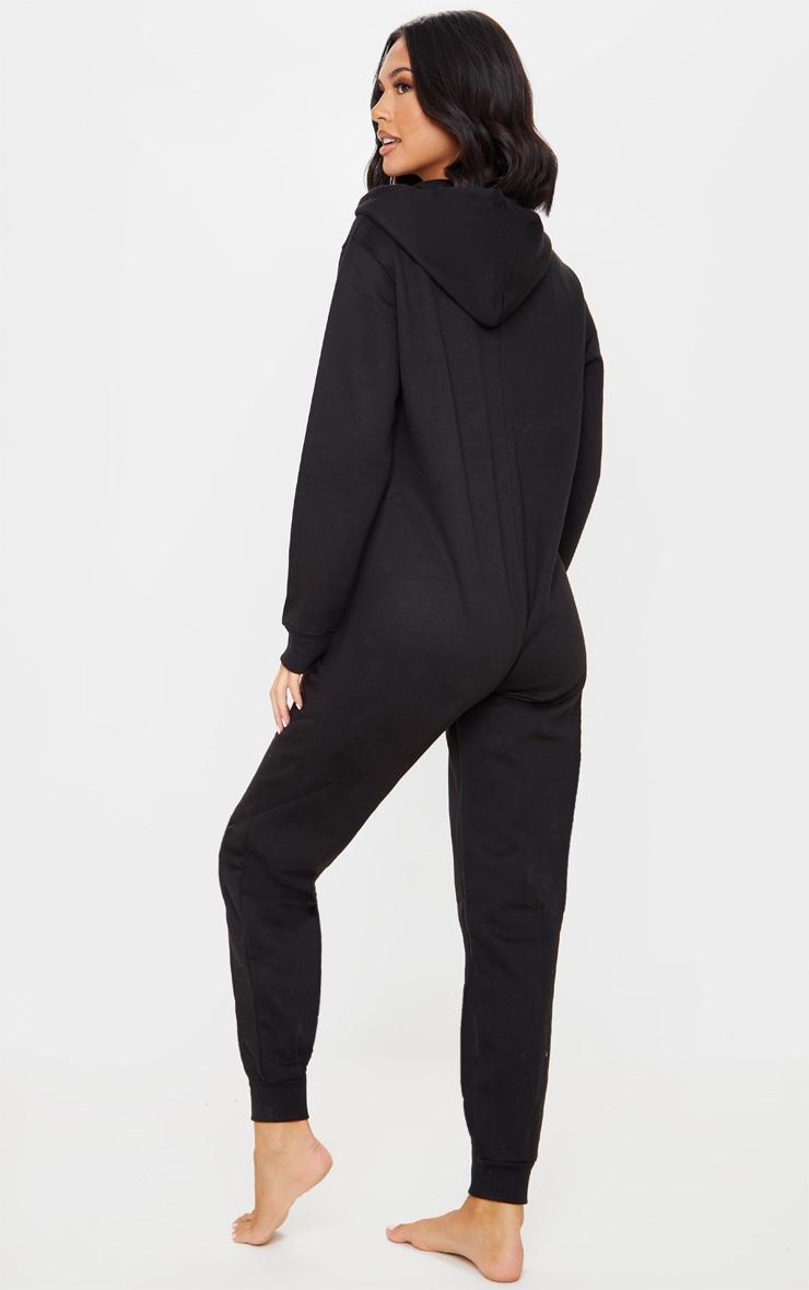 PRETTYLITTLETHING Black Hooded Zip Up Onesie 3
