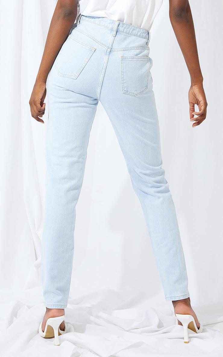 Tall Bleach Wash Asymmetric Waist Jeans 3