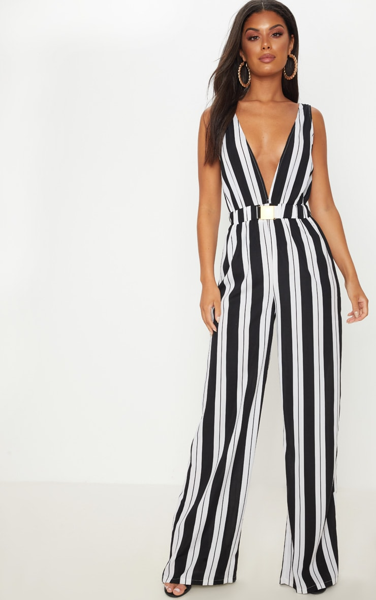 Monochrome Stripe Buckle Belt Detail Jumpsuit 1