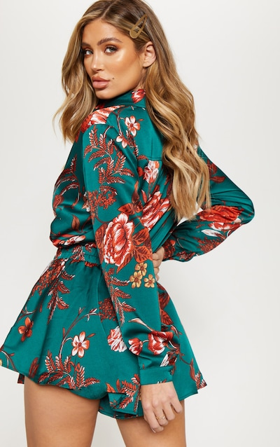 Emerald Green Floral Printed Oversized Shirt
