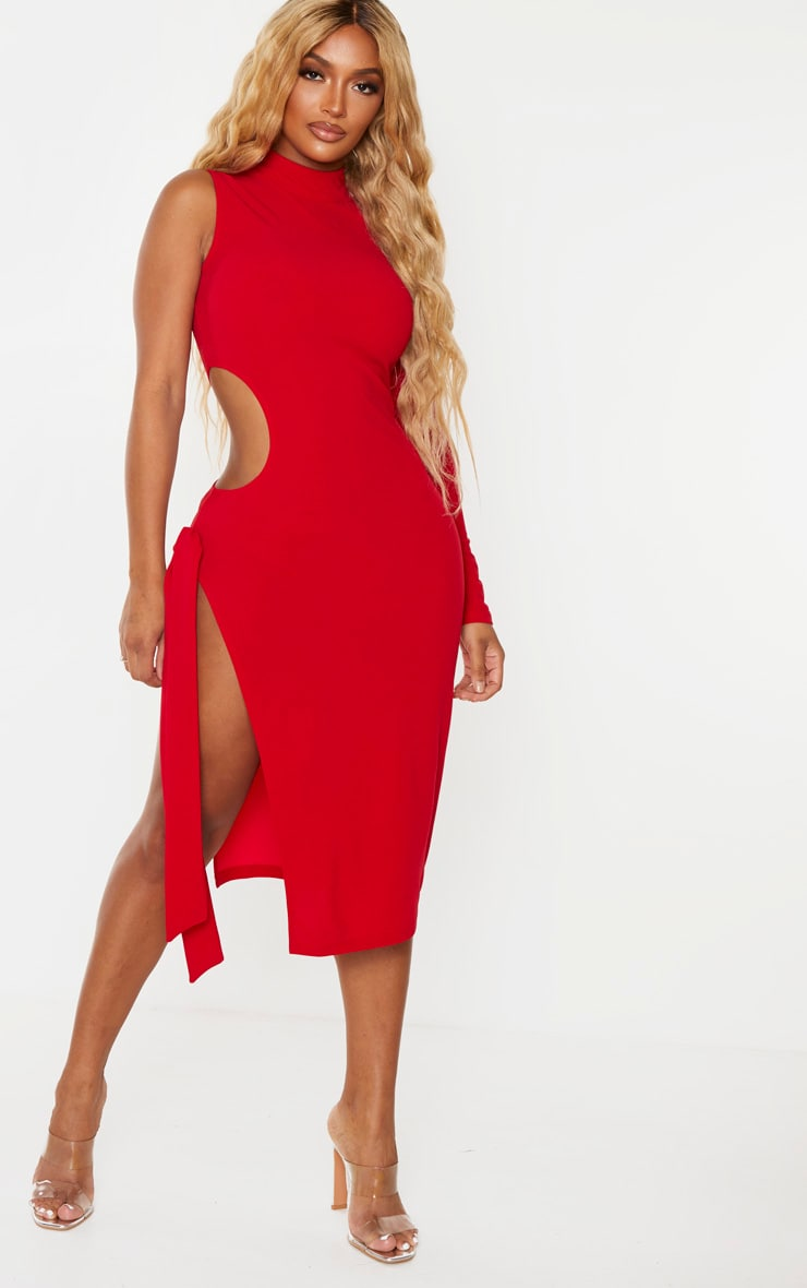 Shape Red One Sleeved Cut Out Tie Side Midi Dress 1