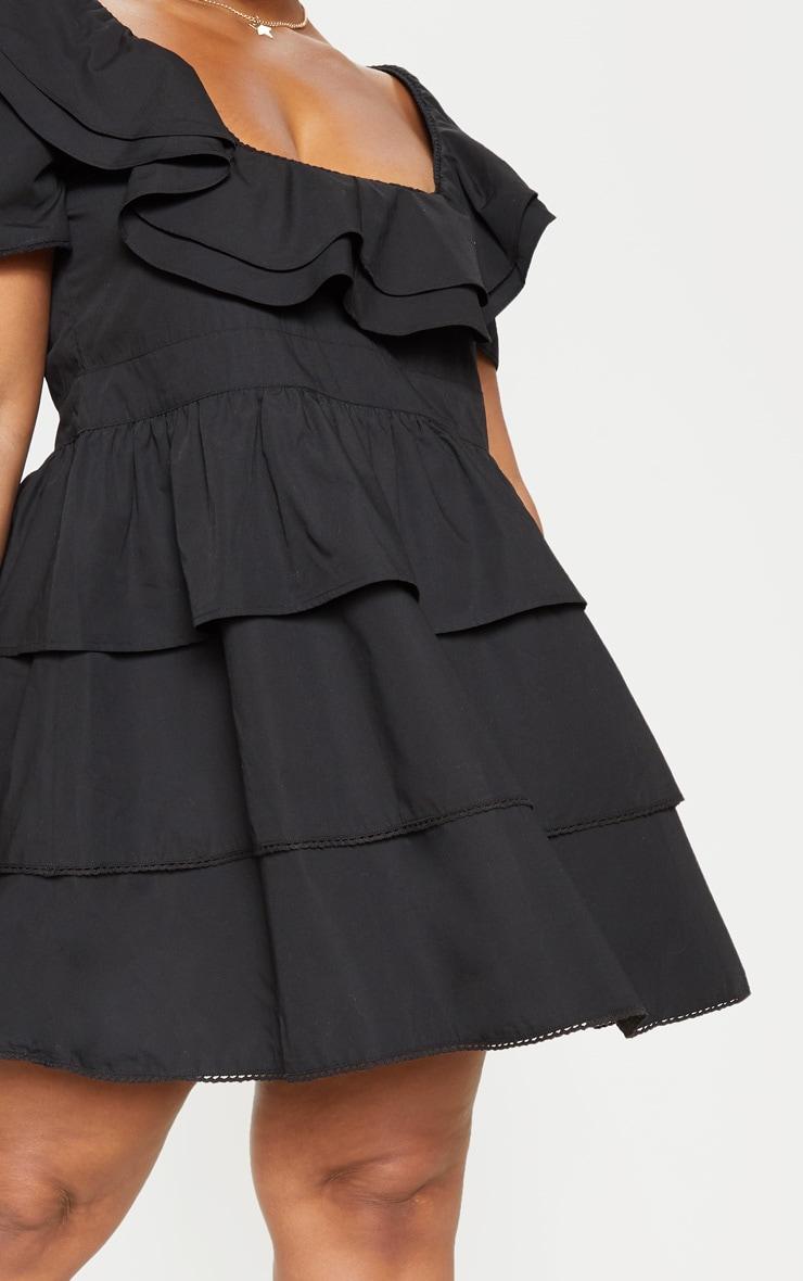 Plus Black Square Neck Tiered Frill Dress 4