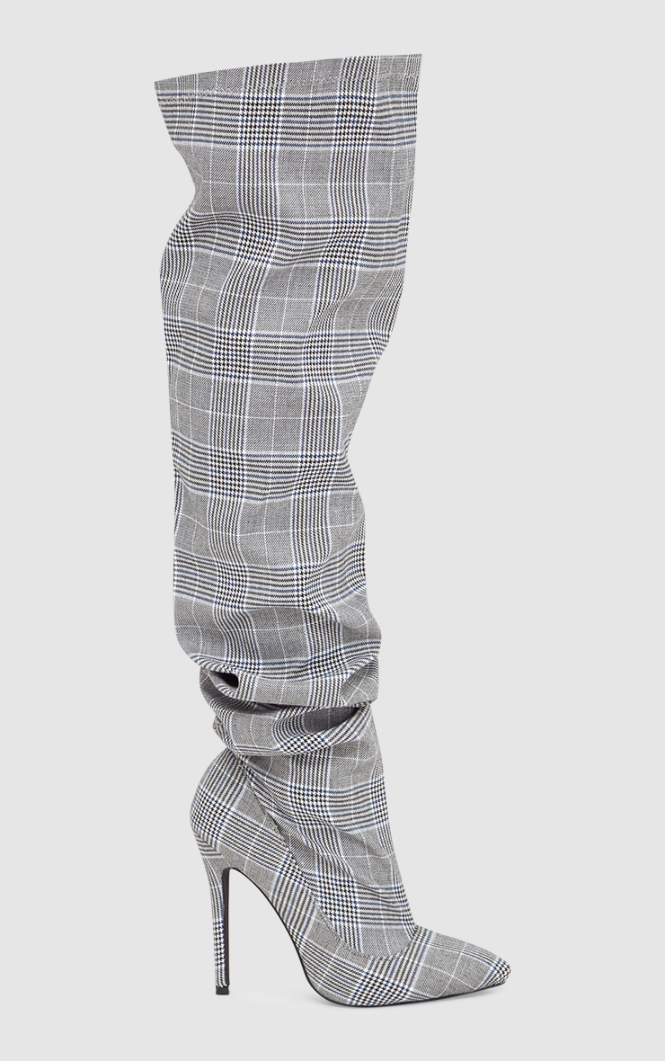 Grey Check Heeled Slouch Boots 3