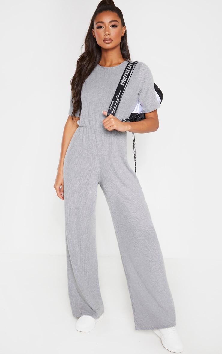 Grey Brushed Rib Short Sleeve Jumpsuit 1