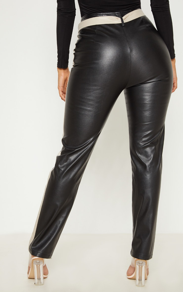 Black Faux Leather Belt Trousers 4