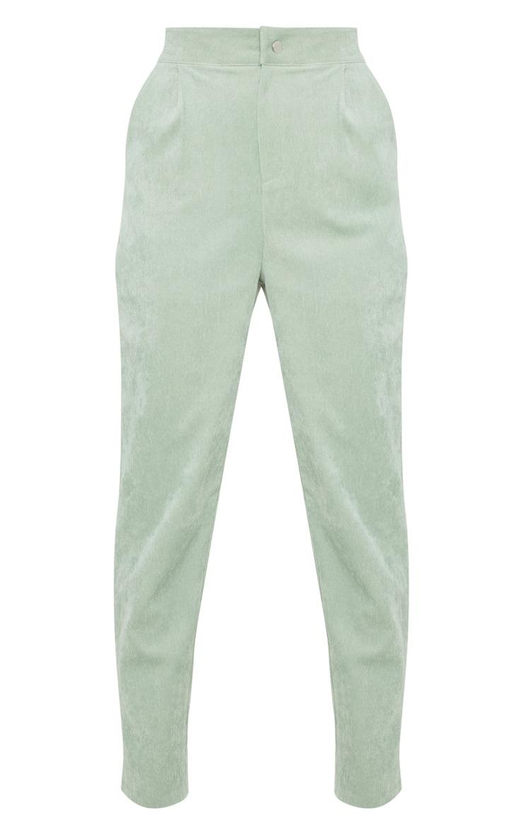 Mint Green Cord High Waisted Straight Leg Trouser 3