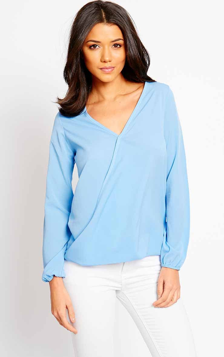 Julie Powder Blue Cross Front Blouse 1
