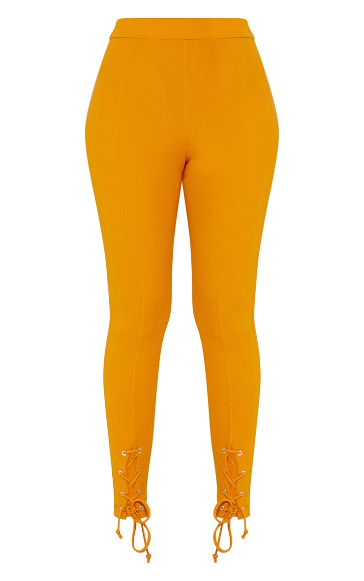 Mustard Lace Up Hem Skinny Trousers 3