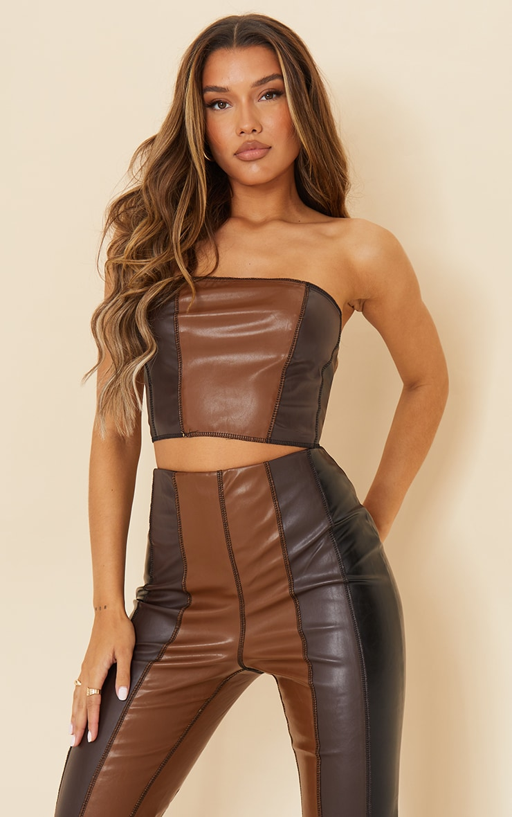 Chocolate Brown Faux Leather Panelled Bandeau Top 1