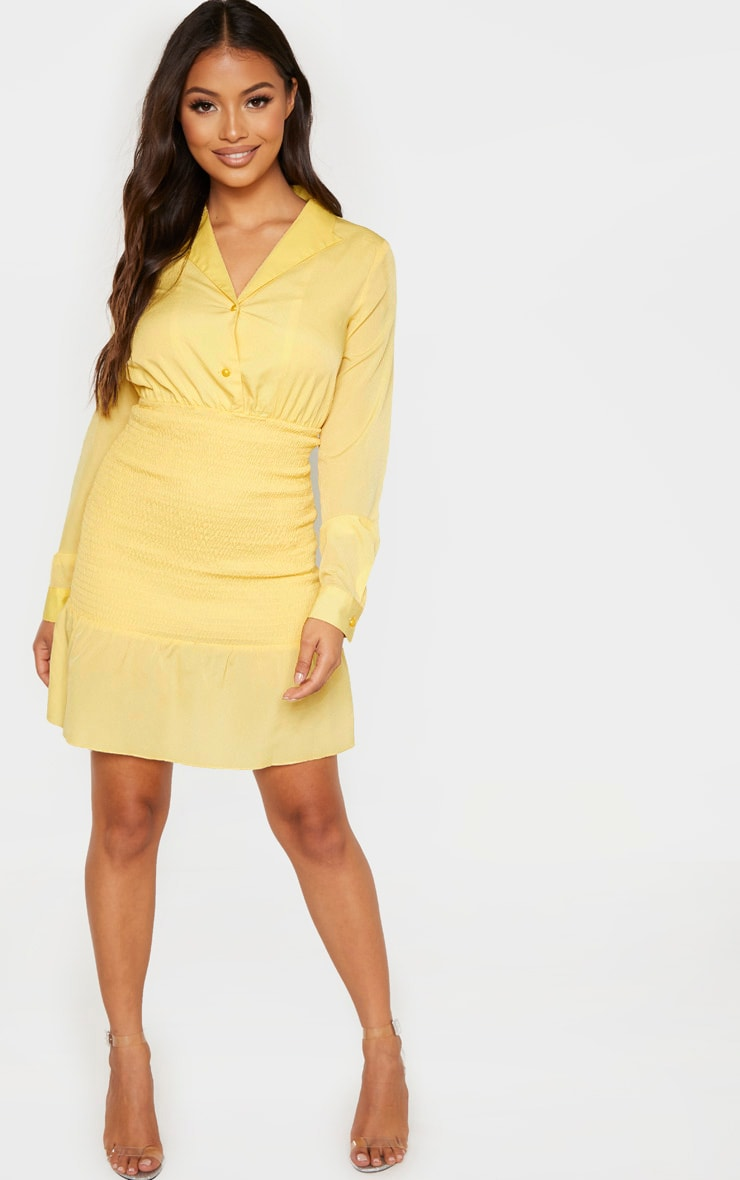 Petite Lemon Yellow Shirred Detail Dress 5
