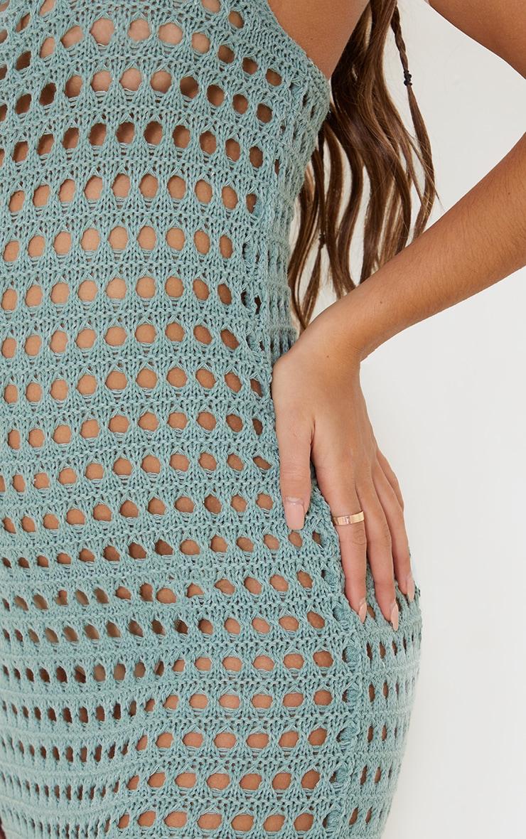 Sage Green Strappy Crochet Maxi Dress 4