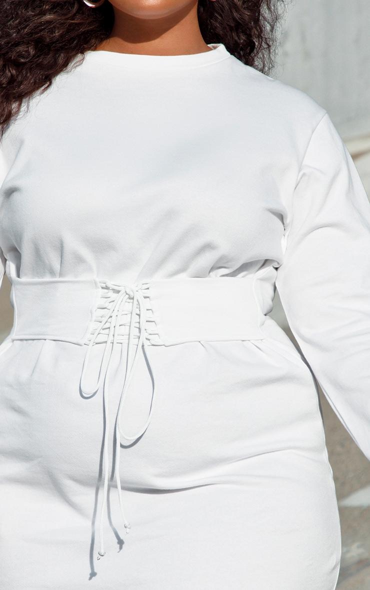 PLT Plus - Robe sweat blanche à détail corset  5