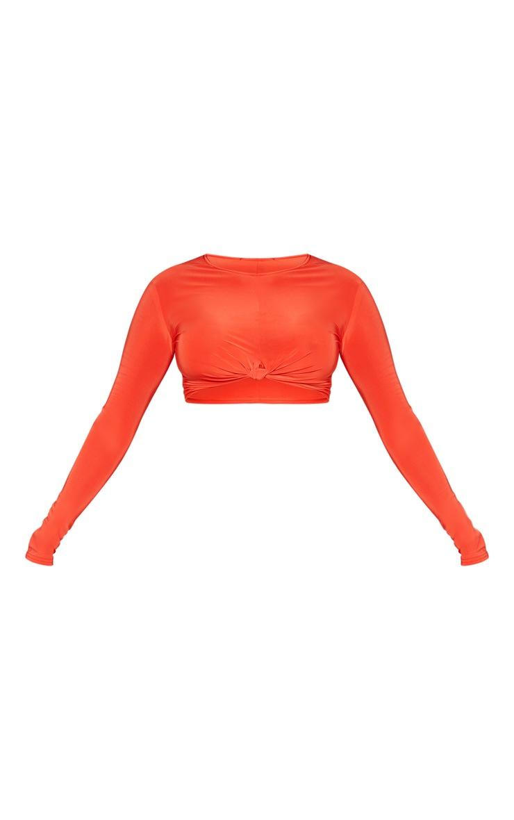Orange Slinky Knot Front Crop Top 3