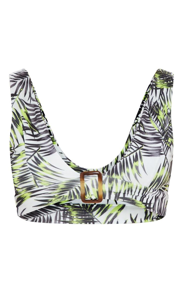 Lime Palm Belt Hem Plunge Bikini Top 3
