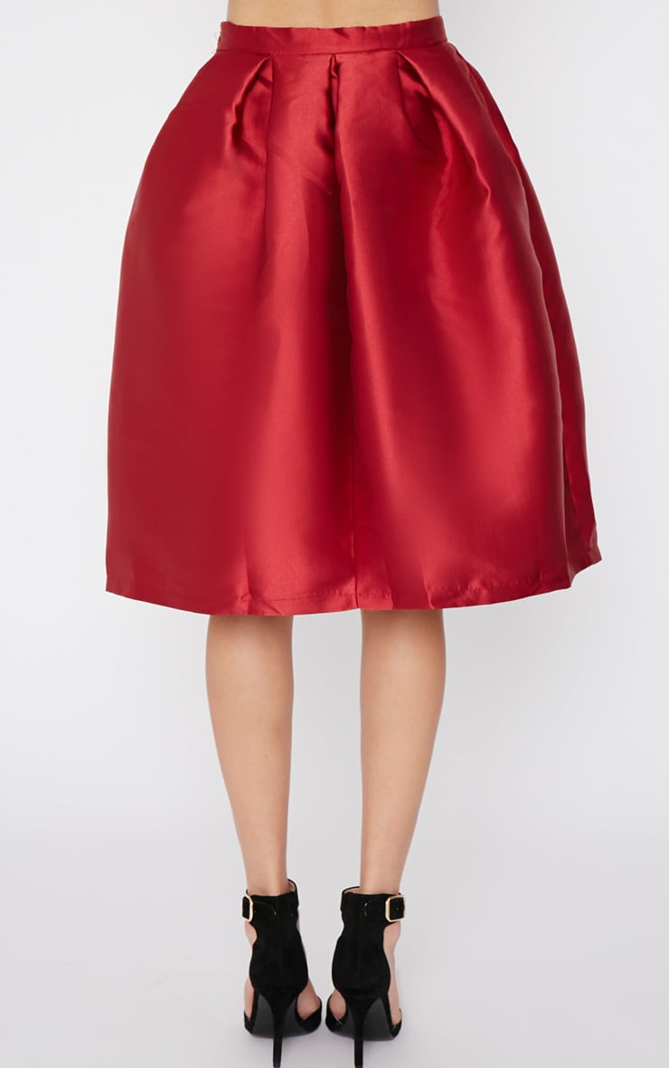 Maggy Red Satin A Line Midi Skirt  2