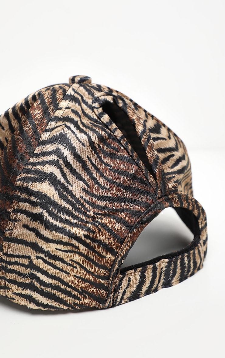 Brown Tiger Printed Satin Baseball Cap 4