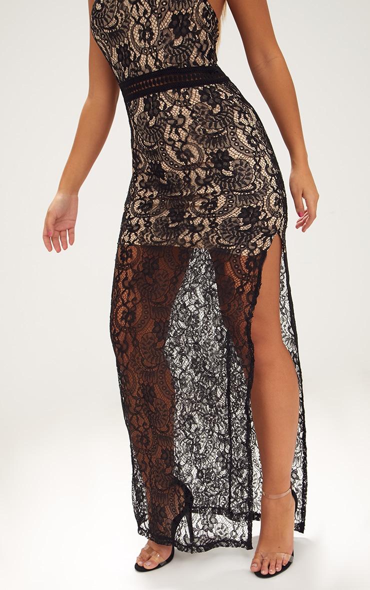 Black High Neck Lace Maxi Dress 5