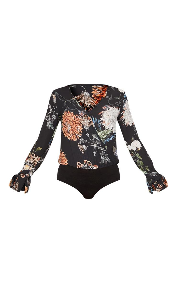 Black Floral Wrap Front Bodysuit 3